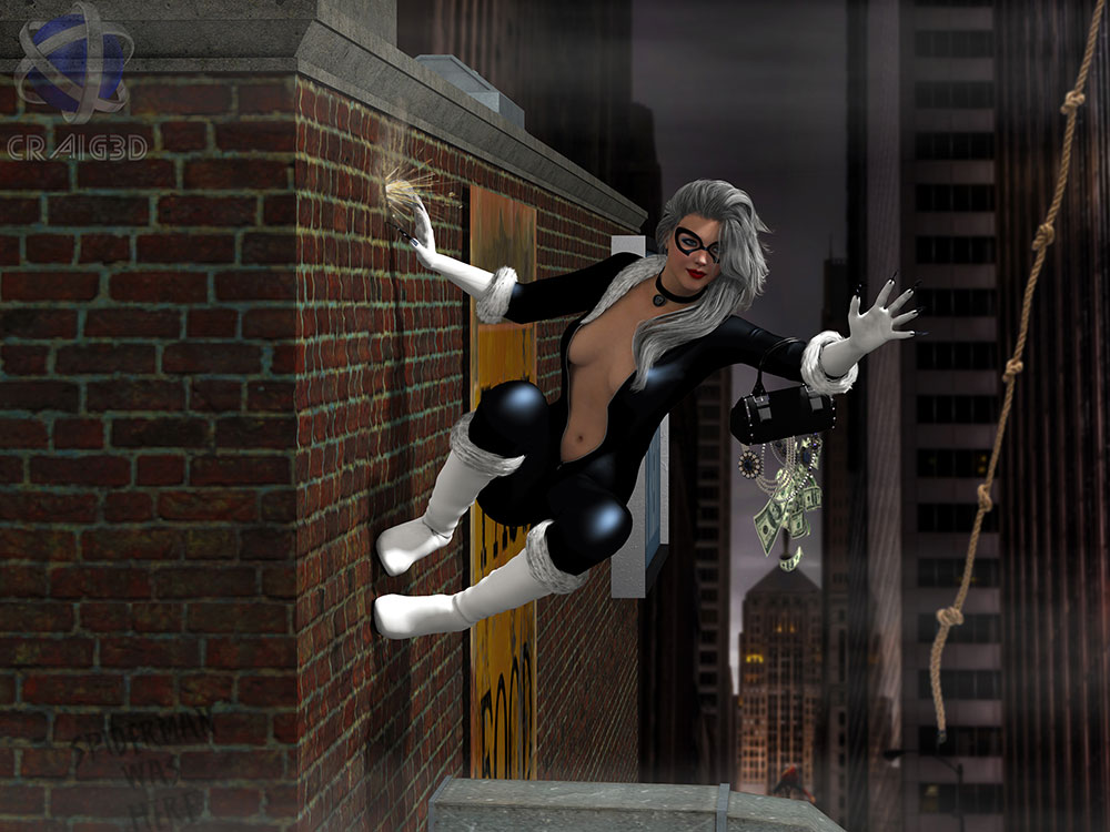 Black Cat 3D Scene Render