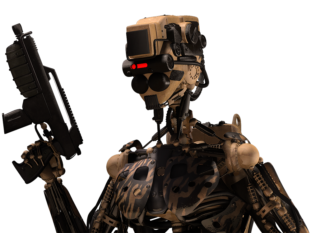 Cyber Warfare Cyborg 3D Stock Render